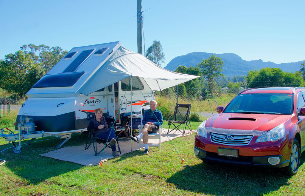 A camping car with an awning